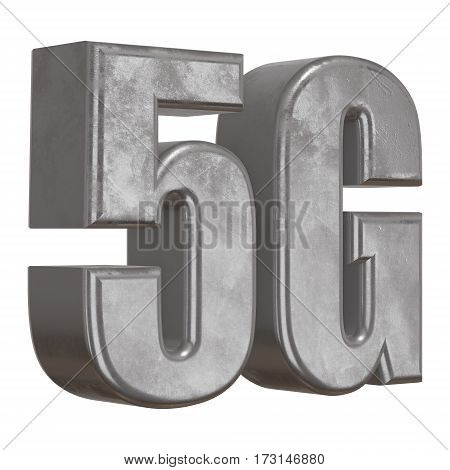 Metal 5G icon on white background. 3D render letters