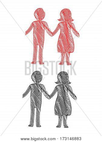 Abstract Stylized Pen Illustration of a young couple holding hands in red and black