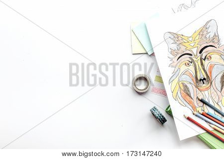 coloring picture for adults on white background top view mockup.