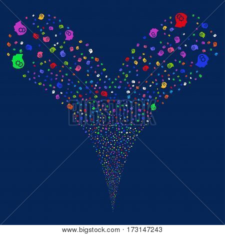 Intellect Gears fireworks stream. Vector illustration style is flat bright multicolored iconic symbols on a blue background. Object double fountain combined from random design elements.