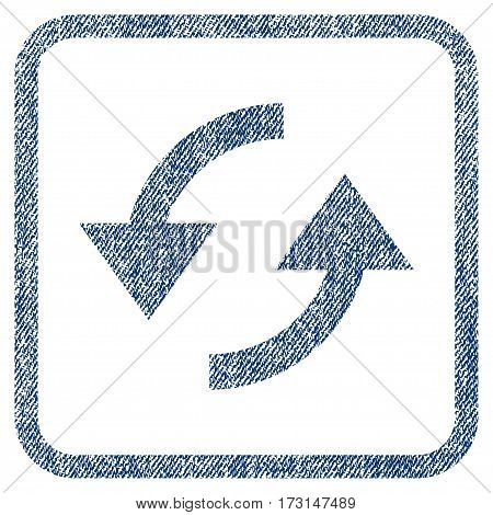 Refresh vector textured icon for overlay watermark stamps. Blue jeans fabric vectorized texture. Symbol with dirty design inside rounded rectangular frame.