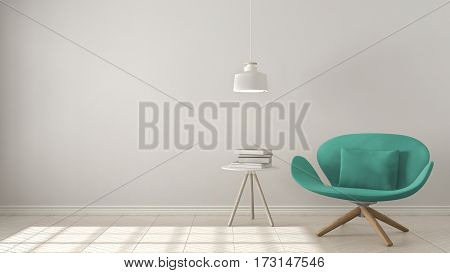 Scandinavian Minimalistic Background, Turquoise Armchair With Table And Pendant Lamp On Herringbone