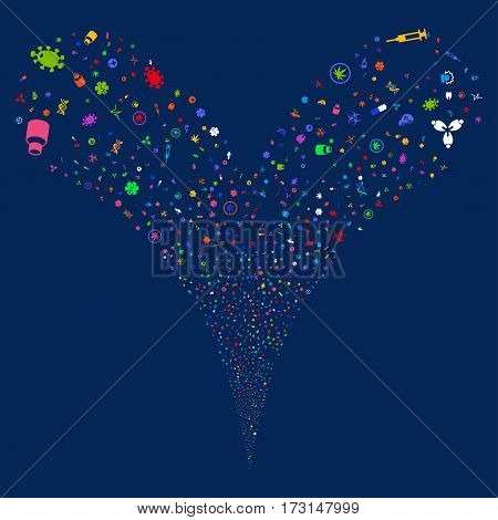 Medical Symbols fireworks stream. Vector illustration style is flat bright multicolored iconic symbols on a blue background. Object double fountain organized from random pictographs.