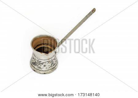 Turkish coffee pot on puew white background