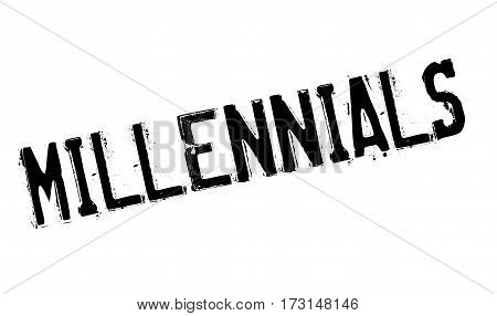 Millennials rubber stamp. Grunge design with dust scratches. Effects can be easily removed for a clean, crisp look. Color is easily changed.
