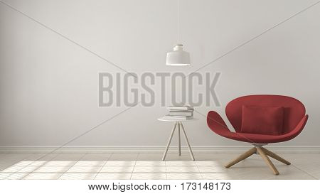 Scandinavian Minimalistic Background, Red Armchair With Table And Pendant Lamp On Herringbone Natura