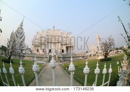 CHIANG RAI, THAILAND -  February 27, 2010: beautiful and amazing Wat Rongkhun (White temple). White temple, Chiang Rai, Thailand.