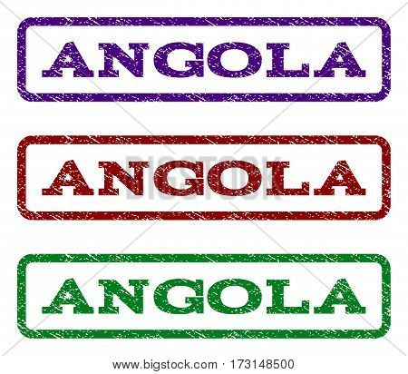 Angola watermark stamp. Text tag inside rounded rectangle with grunge design style. Vector variants are indigo blue red green ink colors. Rubber seal stamp with dust texture.