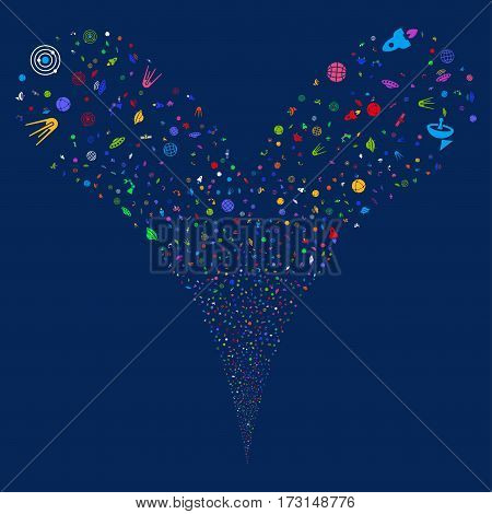 Space Technology Symbols fireworks stream. Vector illustration style is flat bright multicolored iconic symbols on a blue background. Object double fountain made from random pictograms.