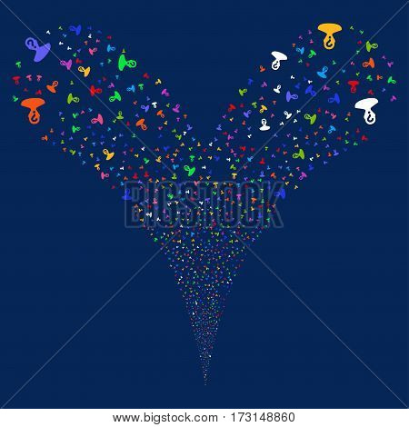 Unknown Person fireworks stream. Vector illustration style is flat bright multicolored iconic symbols on a blue background. Object double fountain organized from random design elements.