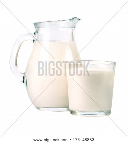 jug and glass of milk isolated on white background.