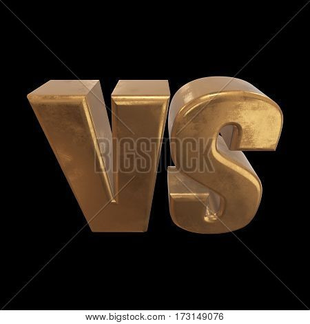 Versus Logo. VS Letters 3D render on black. Competition Icon. Fight Symbol.