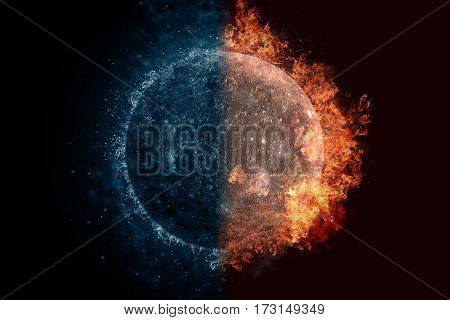 Planet Mercury In Water And Fire. Concept Sci-fi Artwork
