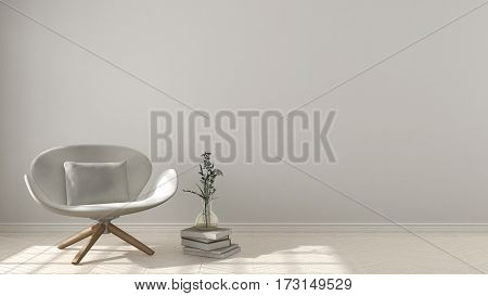 Scandinavian Minimalistic Background, With White Armchair On Herringbone Natural Parquet Flooring, I
