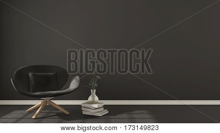 Scandinavian Minimalistic Background, With Gray Armchair On Herringbone Natural Parquet Flooring, In