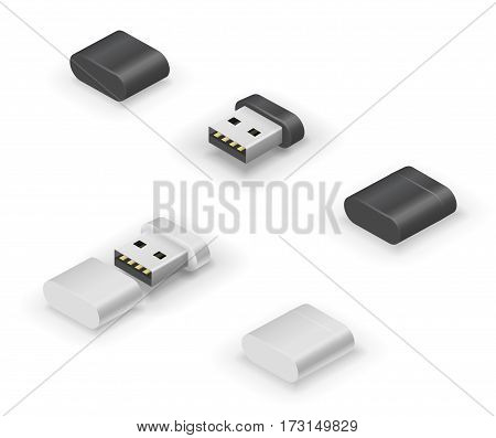 USB thumb size flash drive or transceiver for wireless devices. Vector illustration in 3D looks isometry