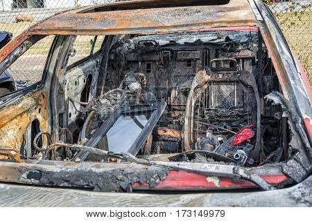 Interior of Automobile After a Car Fire.