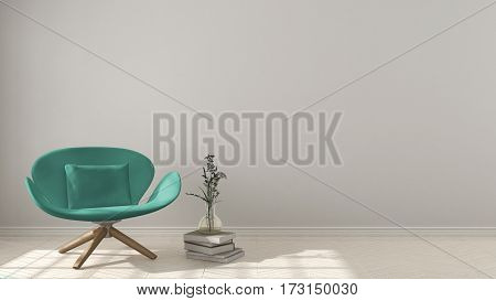 Scandinavian Minimalistic Background, With Turquoise Armchair On Herringbone Natural Parquet Floorin