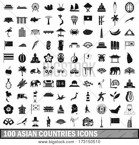 100 asian icons set in simple style for any design vector illustration