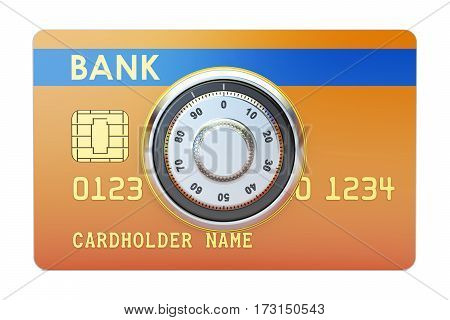 Credit card with safe combination dial lock. Security and Safety concept 3D rendering