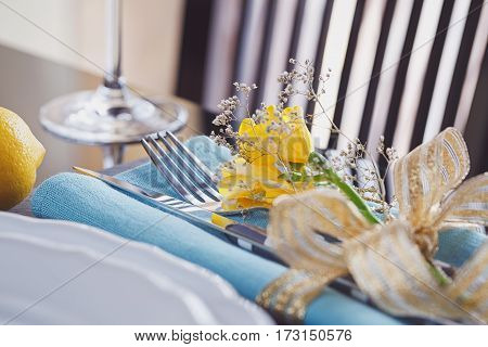 Table place setting with holidays decoration. Romantic dinner.