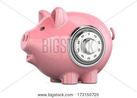 piggy bank with safe combination dial lock 3D rendering isolated on white background