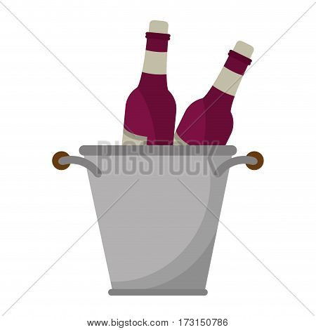 glass bottles wine bucket vector illustration eps 10