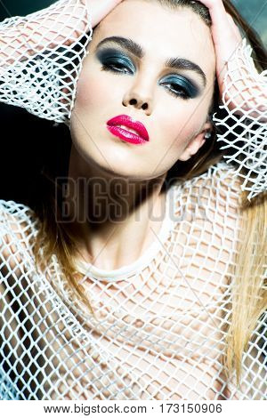 Pretty Girl With Red Lips Wearing Beige Fishnet Shirt