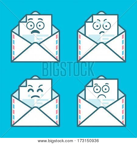 Set happy emoticons. Concept of happy faces on email illustration.