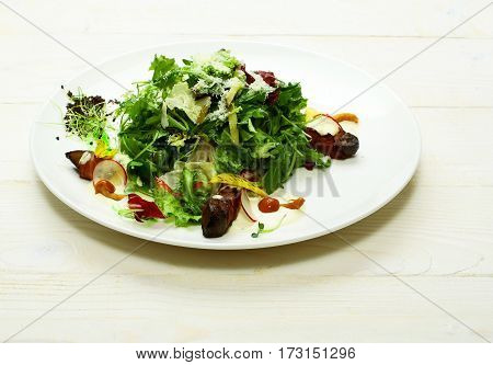 Delicious Green Salad With Meat