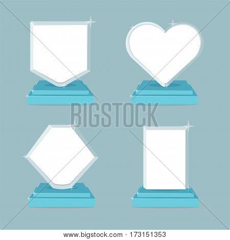 Awards trophy icons set. Modern flat illustration symbols with empty space inside.