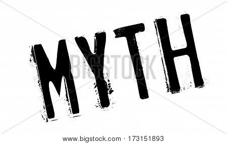 Myth rubber stamp. Grunge design with dust scratches. Effects can be easily removed for a clean, crisp look. Color is easily changed.