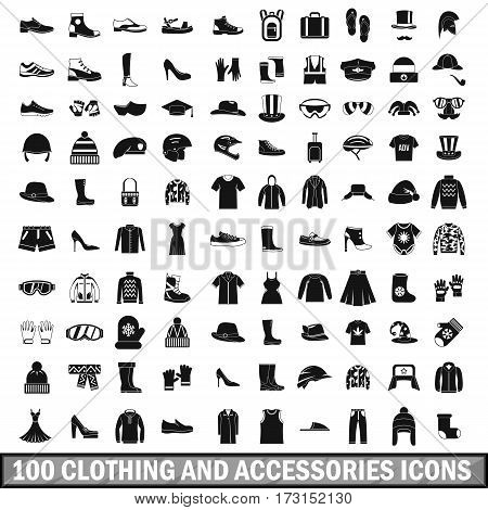 100 clothing and accessories icons set in simple style for any design vector illustration