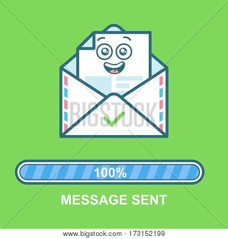 Envelope happy emoji. Flat illustration emoticon email character design with progress bar. Process of email sending. Text message sent. Sending complete.
