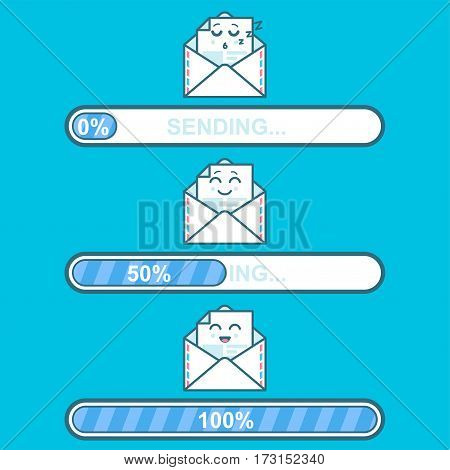 Set of vector downloaders with email cartoon character and text sending. Progress bar and loading emoticon. Ui preloader web elements. Flat design with character emoji