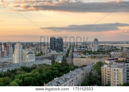 Evening summer cityscape in Voronezh, colourful sky at sunset light