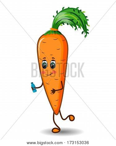 Carrot Character Runner Exercising with a Bottle of Water, Smiling, Hand Drawn, Vector Illustration EPS