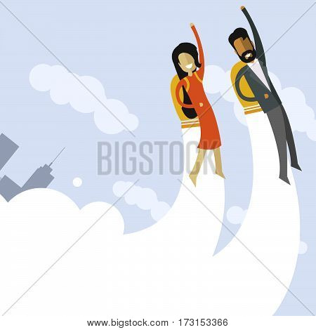 Happy indian businessman and white businesswoman flying on jetpacks to their goals. Flying above the city. Successful people in business suit.