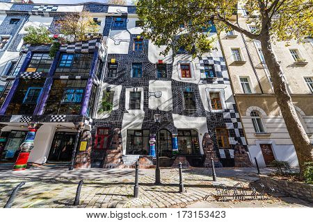 VIENNA AUSTRIA - 3RD OCTOBER 2016: The outside of KUNST HAUS WIEN (Hundertwasser) museum in Vienna during the day.