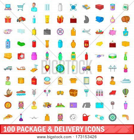 100 package and delivery icons set in cartoon style for any design vector illustration