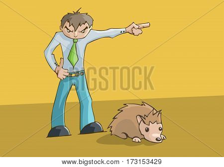 Angry man upset pointing to the left. cute hamster resting