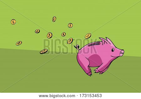 Piggy bank running away lossing his coins