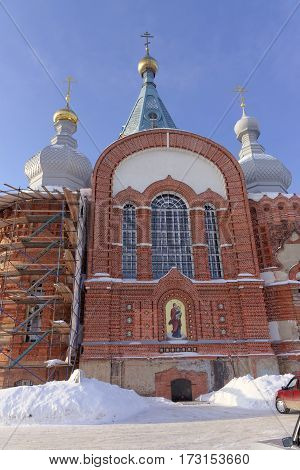 Nizhny Novgorod, Russia. - February 6.2017. Church of the Presentation of the Vladimir Icon of the Mother of God