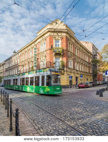 KRAKOW POLAND - 15TH OCTOBER 2016: Trams and architecture in central Krakow during the day