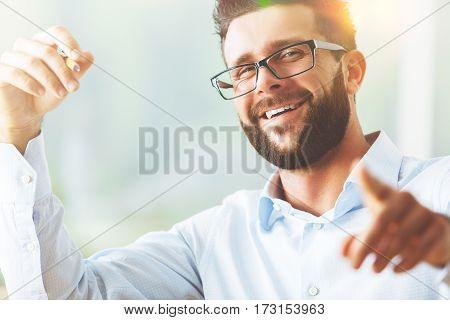 Pointing Man Portrait