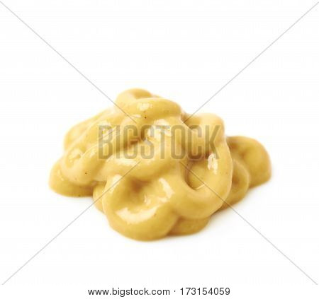 Splash of a mustard souce isolated over the white background