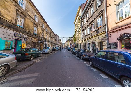 KRAKOW POLAND - 15TH OCTOBER 2016: The outside of buildings along Jozefa in Kazimierz district of Krakow during the day