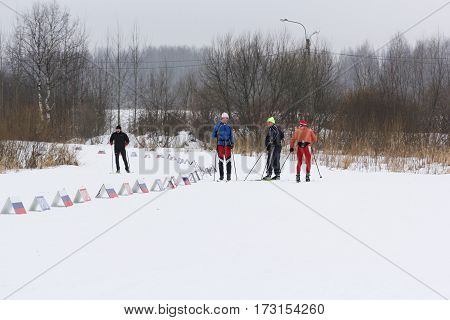 Kirishi, Russia - 11 February, Warm up before the start of the competition, 11 February, 2017. Mass ski race Russian Ski Track.