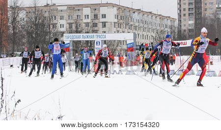 Kirishi, Russia - 11 February, Winter ski competitions, 11 February, 2017. Mass ski race Russian Ski Track.
