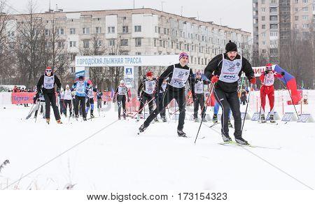 Kirishi, Russia - 11 February, Athletes on the piste, 11 February, 2017. Mass ski race Russian Ski Track.
